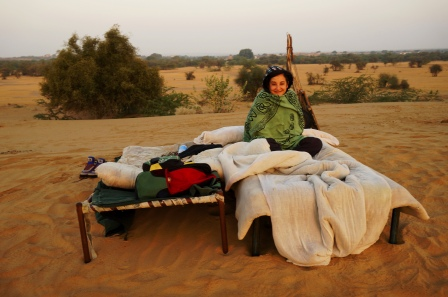 our bed in desert